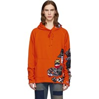 Greg Lauren Orange Paul And Shark Edition Patchwork Hoodie