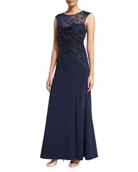 Sue Wong Sleeveless Cap Sleeve Embroidered Bodice Gown Navy