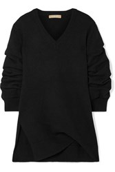 Michael Kors Collection Asymmetric Ruched Cashmere Sweater Black