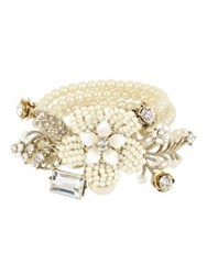Miriam Haskell Vintage Pearl White Flower Crystal And Faux Pearl Stretch Bracelet