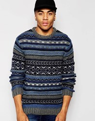 Native Youth Winter Fisherman Knit Jumper Navy