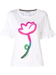 Paul Smith Ps By Flower Print Frill Sleeve Tee White