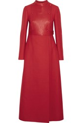 Valentino Leather Paneled Wool And Silk Blend Coat Red