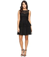 Adrianna Papell Lace Peplum Dress W Full Netted Skirt Black Women's Dress