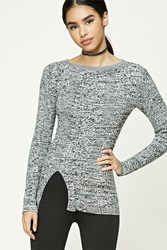 Forever 21 Front Slit Marled Knit Sweater
