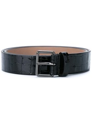 Alaia Embossed Crocodile Effect Belt Black