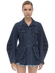 Marques Almeida Multi Pocket Balloon Sleeve Jacket Blue