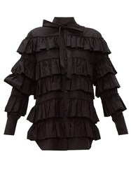 Valentino Tiered Ruffled Cotton Blouse Black