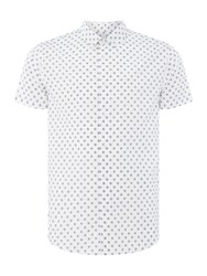 Acton Linear Circles Print Shirt White