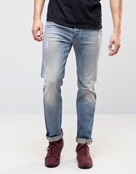 Diesel Buster Jean Regular Slim Fit Jean 0845F Mid Distressed Wash Bl1 Blue 1