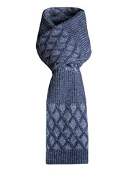 Racing Green Norman Cable Scarf Blue