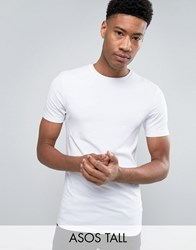 Asos Tall Muscle T Shirt With Crew Neck In White White