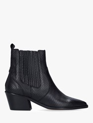 Carvela Stella Leather Western Style Ankle Boots Black