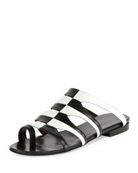 Pierre Hardy Parade Bicolor Toe Ring Mule Sandal Black White Black White
