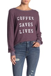 Wildfox Couture Coffee Saves Lives Pullover Crushed Berry