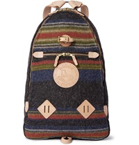 Yuketen Leather Trimmed Striped Wool Felt Backpack Blue