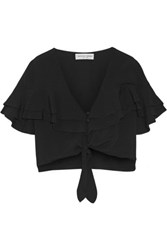 Apiece Apart Mora Cropped Tiered Ruffled Crepe Top Black