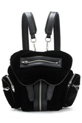 Alexander Wang Woman Leather Trimmed Velvet Backpack Black
