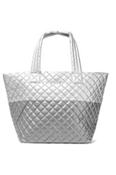 M Z Wallace Mz Metro Medium Quilted Metallic Shell Tote Silver