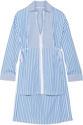 Rosetta Getty Tuxedo Pinstriped Cotton Poplin Shirt Blue