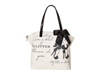 My Flat In London Royal Ball Zip Tote Black Natural Tote Handbags