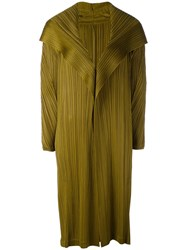 Issey Miyake Pleats Please By Long Pleated Coat Women Polyester Iii Green