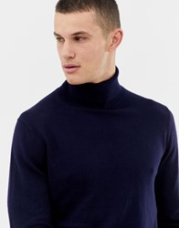 Jack And Jones Premium Knitted Roll Neck With Contrast Cuff Tipping Navy