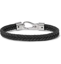Tod's Woven Leather And Silver Tone Bracelet Black