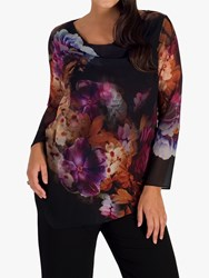 Chesca Floral Print Chiffon Top Black Multi