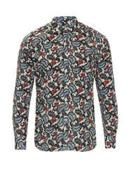 Bevilacqua David Heart And Leaf Print Cotton Shirt Blue Multi