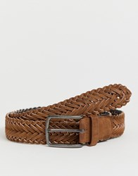 New Look Faux Leather Woven Belt In Tan