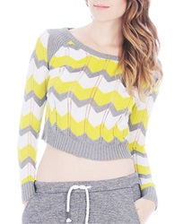 Buffalo David Bitton Barbary Zig Zag Stripe Cropped Sweater Sour Combo