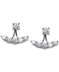 Arabella Swarovski Zirconia Ear Jack Earrings In Sterling Silver White