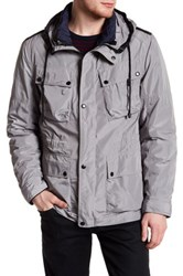 Cole Haan Pocketed Hooded Jacket Gray