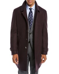 Neiman Marcus Solid Wool Car Coat Red