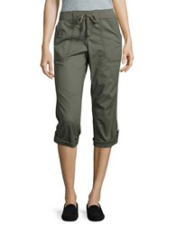 Lord And Taylor Petite Roll Tab Cropped Pants Green