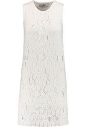 Pringle Bead Embellished Silk Blend Stretch Jacquard Dress White
