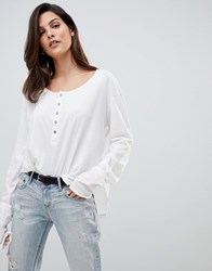 One Teaspoon Soft Touch Button Long Sleeve Top White