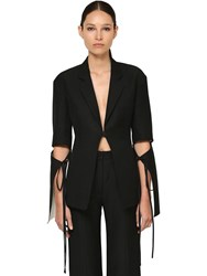 Loewe Cotton And Silk Crepe Jacket W Cut Outs Black