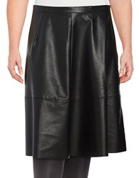 Lord And Taylor Plus Faux Leather A Line Skirt Black
