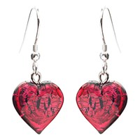 Martick Bohemian Glass And Silver Earrings Red