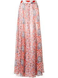 Michel Klein Abstract Print Long Skirt Red