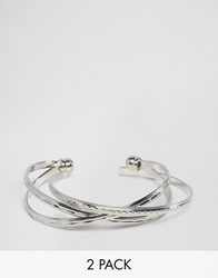 Asos Pack Of 2 Criss Cross Cuff And Open Bangle Bracelets Rhodium Silver