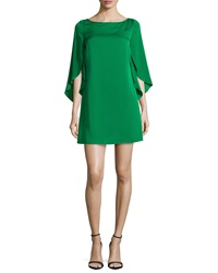 Milly Butterfly Sleeve Stretch Silk Dress Emerald