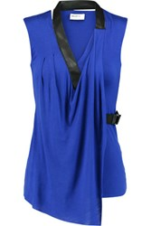 Bailey 44 Wrap Effect Leather Trimmed Jersey Top Royal Blue