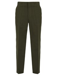 Stella Mccartney Mid Rise Straight Leg Trousers Khaki