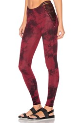 Blue Life Strappy High Waist Leggings Red