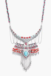 Boohoo Stone Detail Braided Statement Necklace Silver