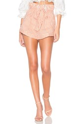 For Love And Lemons Isla Striped Short Red