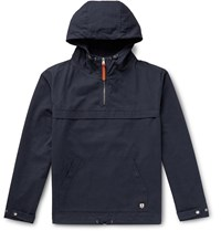 Armor Lux Cotton Oxford Hooded Jacket Blue